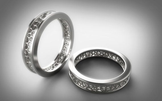 Geek Wedding Ring Set, Voronoi, Math Ring Ring, Mathematics, Cool Wedding Rings, Geek Wedding Band