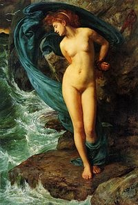 "Andromeda (1869) Edward Poynter.  Andromeda is a princess from Greek mythology who, as divine punishment for her mother's bragging, the Boast of Cassiopeia, was chained to a rock as a sacrifice to a sea monster. She was saved from death by Perseus, her future husband. Her name is the Latinized form of the Greek Ἀνδρομέδη (Andromédē). The traditional etymology of the name is ""she who has bravery in her mind"". Alternatively it could mean ""she who leads"""