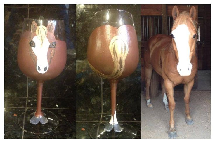 Hand Painted Horse Wine Glass. JoJo