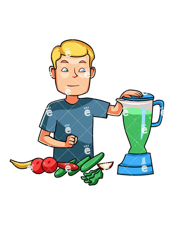 A Man Preparing A Healthy Smoothie:  #apple #banana #blender #blond #body #breakfast #cartoon #caucasian #character #cleaneating #clipart #cucumber #detox #diet #drawing #drink #drinkable #drinking #eat #eating #energetic #energy #food #foodie #fruit #graphic #greens #health #healthy #human #illustration #image #individual #juice #juicer #kale #lettuce #loss #lowfat #male #man #men #nutrients...