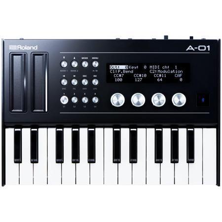Roland A-01K  — 34990 руб. —  Портативный звуковой модуль, состоящий из MIDI-контроллера и восьмибитного синтезатора с комплектной клавиатурой K-25m. Двойной назначаемый ленточный контроллер и 16 ручек управления, графический ЖК-дисплей с разрешением 192x40 точек, встроенный динамик 0,5 Вт, сверхмалый вес в 950 грамм, выходы CV/GATE для традиционных аналоговых и модульных синтезаторов. Работа от батареек (4 элемента AA) или от шины USB.