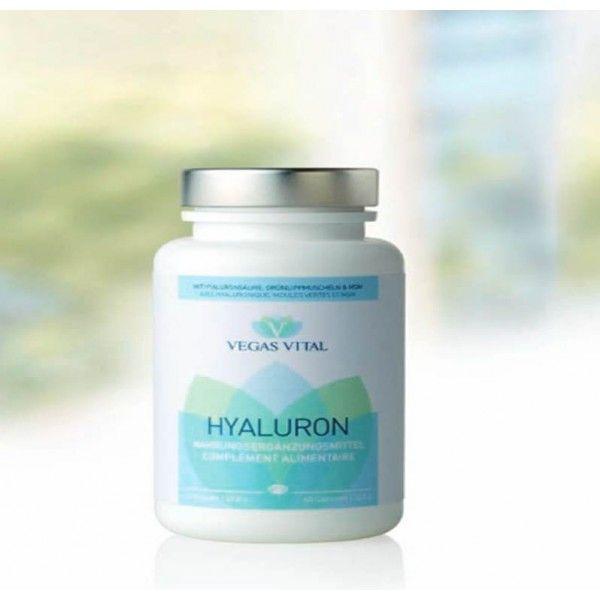 5004 HYALURON Το υαλουρονικό της Vegas Vital σε κάψουλες περιλαμβάνει υαλουρονικό οξύ, θειική γλυκοζαμίνη και θειική χονδροϊτίνη, συστατικά που φυσικά παρουσιάζει αρθρικό χόνδρο στο σώμα σας.  Μια από τις κυριότερες προϋποθέσεις για δίχως-προβλήματα σωματική κίνηση είναι ο υγιείς αρθρικός χόνδρος. Αυτό προφυλάσσει από την τριβή των οστών, μεταξύ τους έχουν καλή αντικραδασμική προστασία, και δρα χωρίς τριβή ή πόνο. Οι χόνδροι τότε μετακινούνται ομαλά και εύκολα.