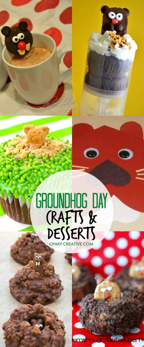 Fun Groundhog Day Kids Crafts and Desserts! Adorable Groundhog Day preschooler ideas or Groundhog Day kindergarten ideas! | OHMY-CREATIVE.COM