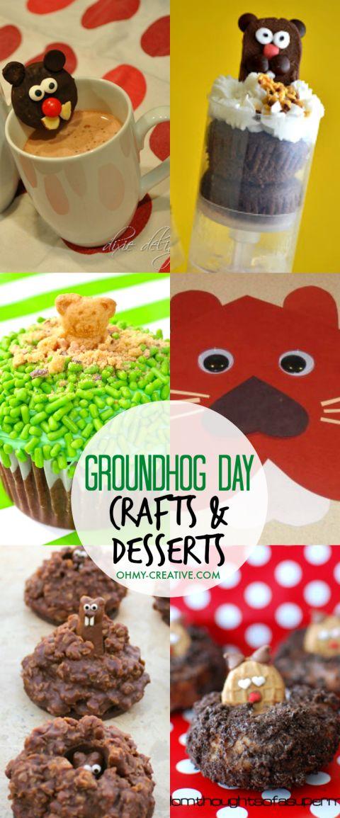 Fun Groundhog Day Kids Crafts and Desserts! Adorable Groundhog Day preschooler ideas or Groundhog Day kindergarten ideas!   OHMY-CREATIVE.COM
