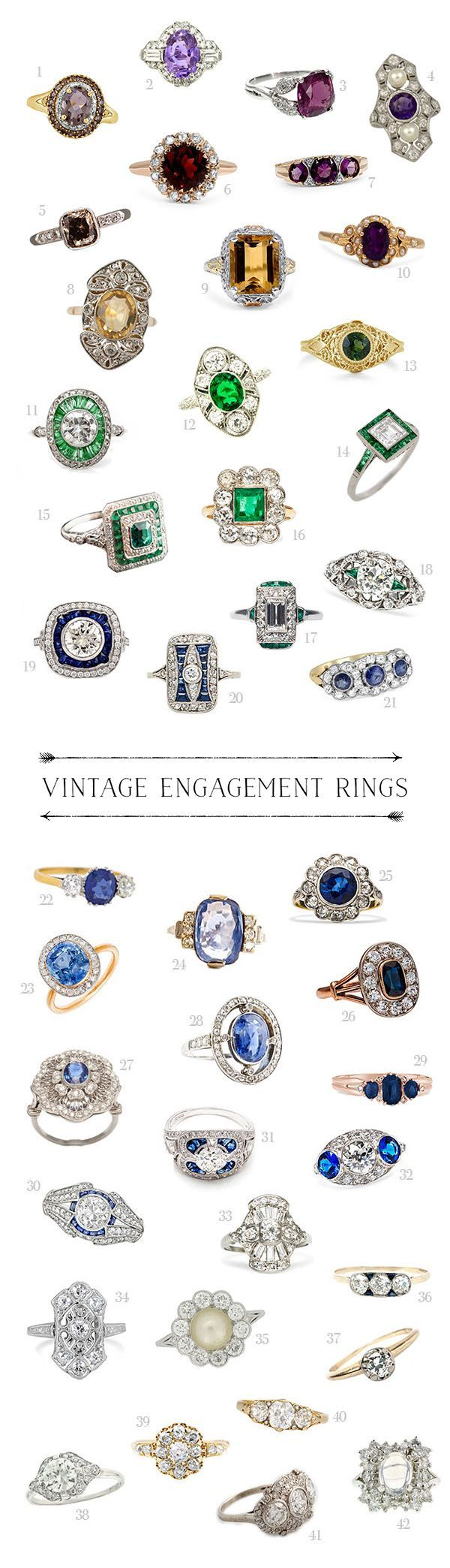 Colourful stone, vintage engagement ring lust Heaven!