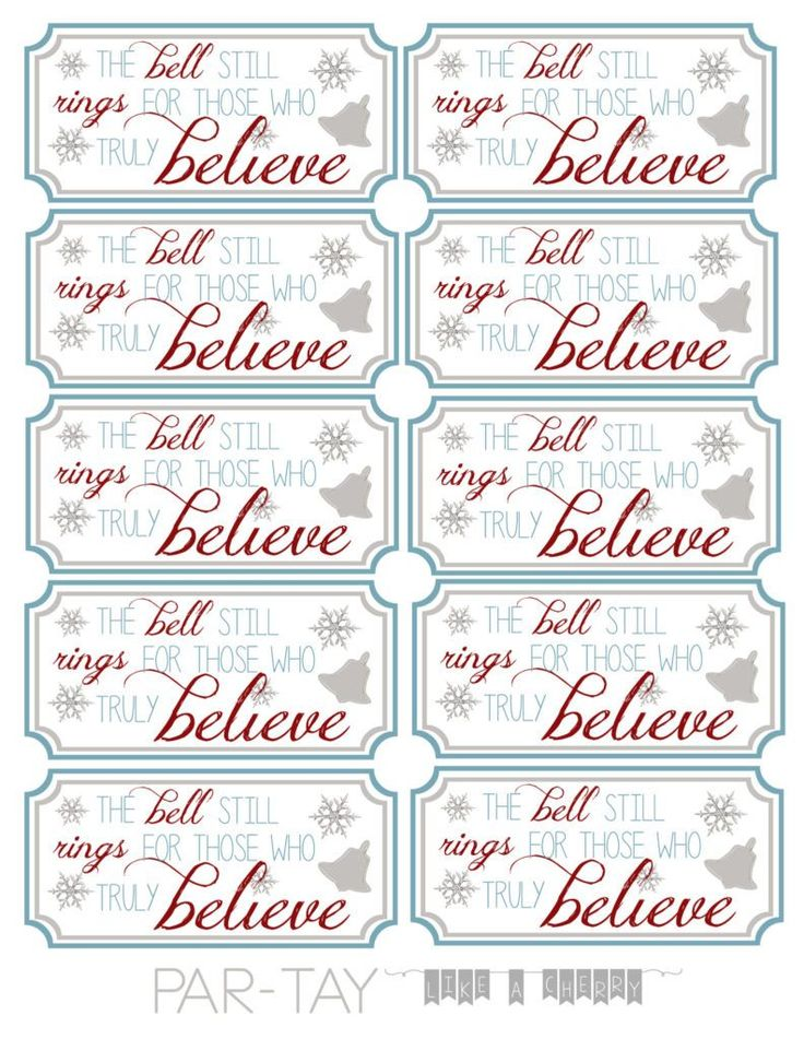 polar express bell party favor tags free printable. Punch hole, attach to bell and hand out to your party guests (or have santa hand them out!)