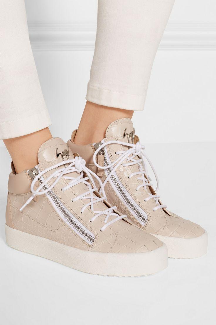Giuseppe Zanotti   Croc-effect leather high-top sneakers   NET-A-PORTER.COM