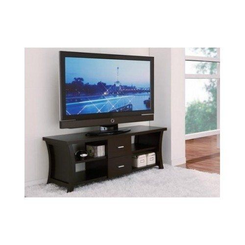 Furniture of America Danbury Modern 2-Drawer Cappaccino TV Console. Set includes: One (1) TV console. Materials: MDF, veneers, metal. Number of shelves: Four (4). Accommodates TV up to 60 inches. 60-inch console dimensions: 21.5 inches high x 60 inches wide x 18 inches deep.