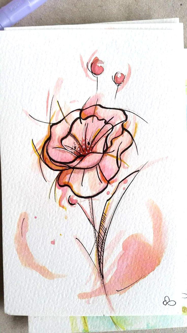 flower, acquerello, water, tatoo, http://peloocha.it/ https://www.facebook.com/Peloocha/?fref=ts
