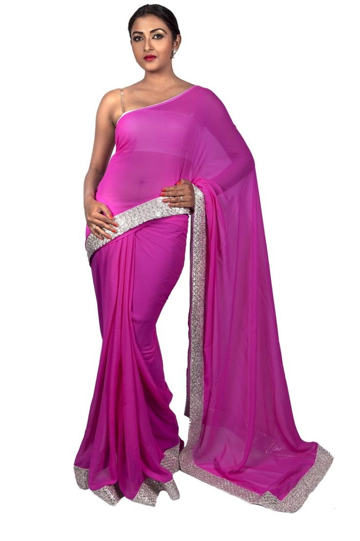 Chiffon Baby Pink Saree with Hand-embroidered Silver Basket Weave Border.  Now on SALE at 15% OFF. Shop rightaway!   #ThreadTurner #DesignerSaree