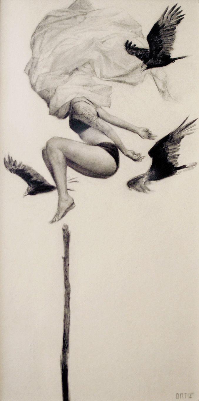 "Karla Ortiz - ""Mis Fantasmas""   graphite - 17"" x 22.75"" - (archival frame and mat)"
