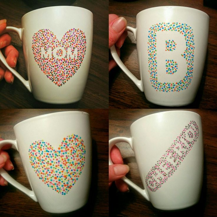 Here are four new custom mugs I made this week! Check out my Etsy page for more cute handmade gifts, and let me know if I you think I should make the MOM heart mug on the top left one of my regular listings. (:
