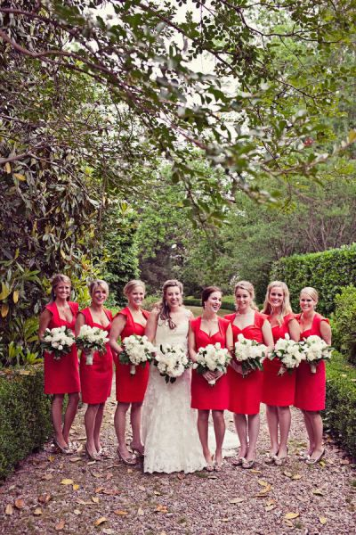 Red bridesmaid dresses #bridesmaid #outerinner