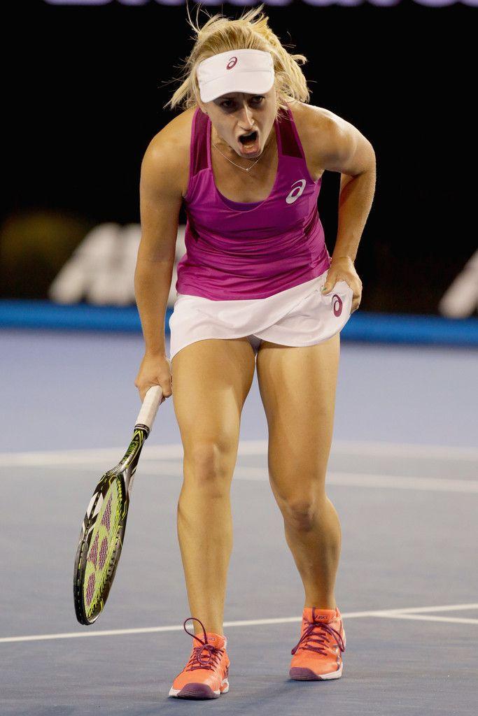 Daria Gavrilova Photos - Daria Gavrilova of Australia reacts in her fourth round match against Carla Suarez Navarro of Spain during day seven of the 2016 Australian Open at Melbourne Park on January 24, 2016 in Melbourne, Australia. - 2016 Australian Open - Day 7