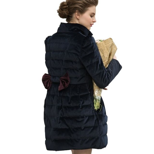 Cappotto Piumino Donna Gold Velour Single Breasted Stand Collar Bow Womens Down Jackets And Coats Winter Parkas Winterjas Dames US $75.78 To Buy Or See Another Product Click On This Link  http://goo.gl/Ln6ntd