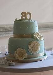 Duck egg blue cake for an 80th Birthday celebration