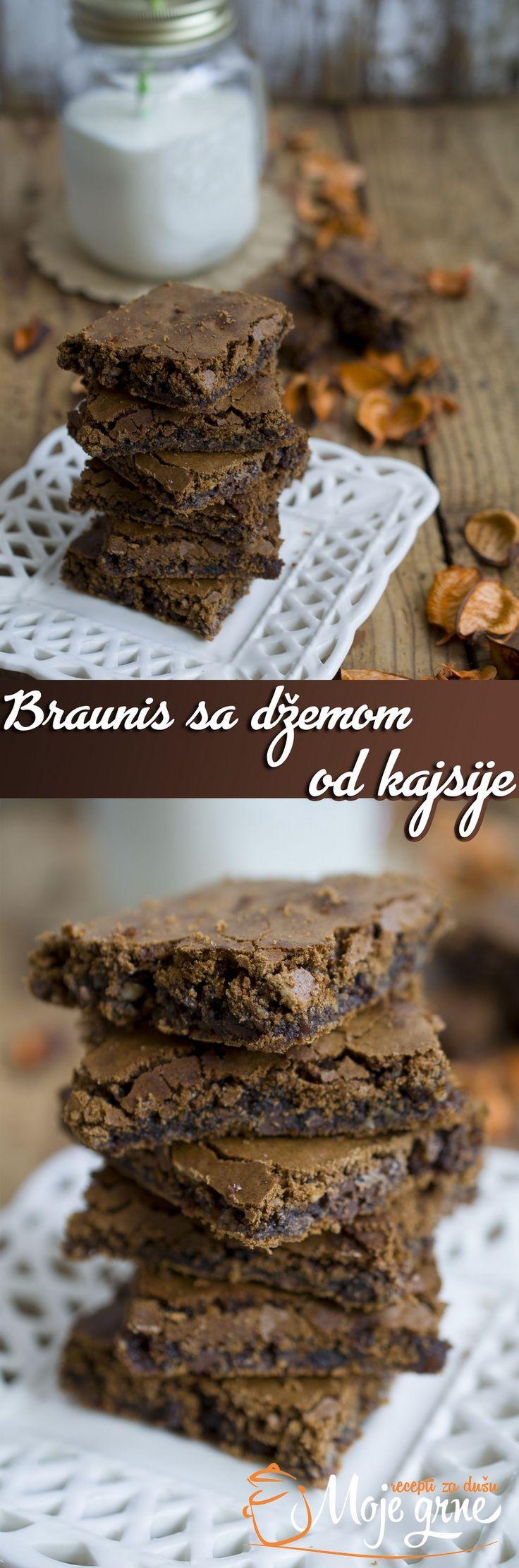 Braunis sa džemom od kajsije  #foodblogger #sweet #brownies #MojeGrne #homemade