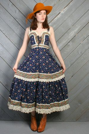 gold vintage boots - navy vintage gunne sax dress