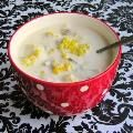 Corn on the Cob Chowder 7-8 cooked ears of corn with corn cut off (you can use canned corn in a pinch) 1/2 stick butter 4 slices of bacon, cut into small pieces 1 large onion, finely chopped 4-5 stalks of celery, finely chopped 6 potatoes, cubed 1 gallon milk ( I used 1/2 gallon whole milk and 1/2 gallon 1% milk with a touch of heavy cream) salt and pepper to taste In a large soup pan, sauté bacon. Add butter, onions and celery and cook until tender.