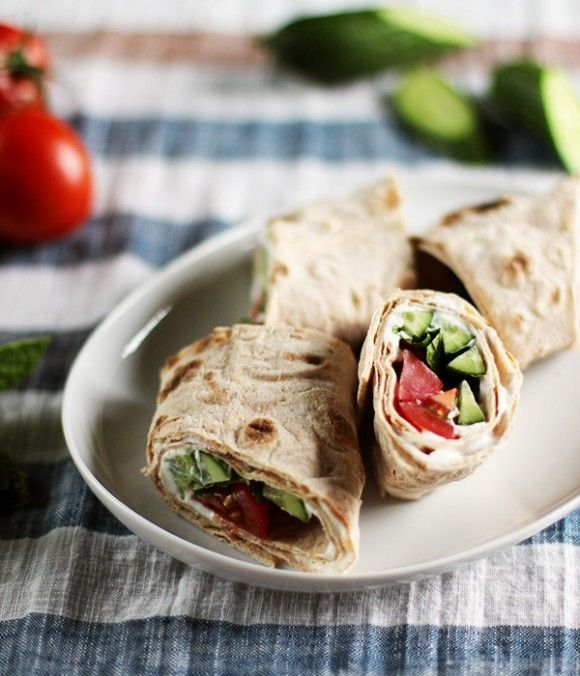 Cucumber, Tomato & Yogurt Whole Wheat Breakfast Wrap