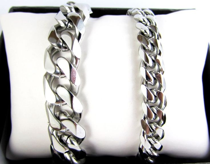 6 Faceted Curb Cuban Stainless Steel Bracelet Men Chain
