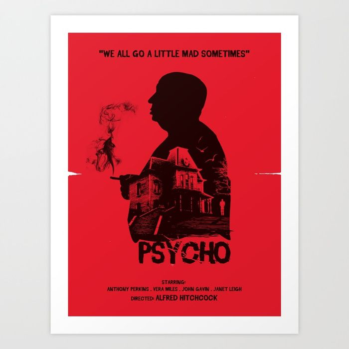 Psycho Classic Vintage Hitchcock Horror Movie Large Wall Art Poster Print
