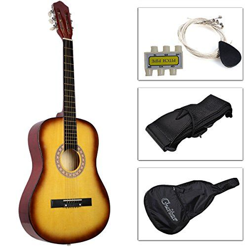 Kseven 38 Beginners Acoustic Guitar 6 String with Pick Practice Music Instrument Starter kit Bundle Case Strap Tuner Extra Strings Yellow -- Details can be found by clicking on the image.Note:It is affiliate link to Amazon.