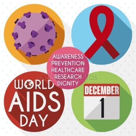 Commemorative Icons in Buttons for World AIDS Day Celebration