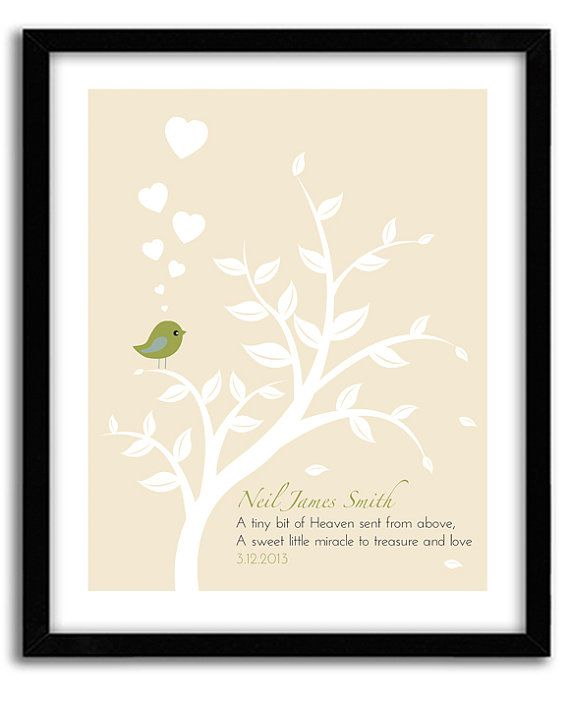 Personalized Christening Tree Gift for New by GoodNightOwlDesigns, $20.00