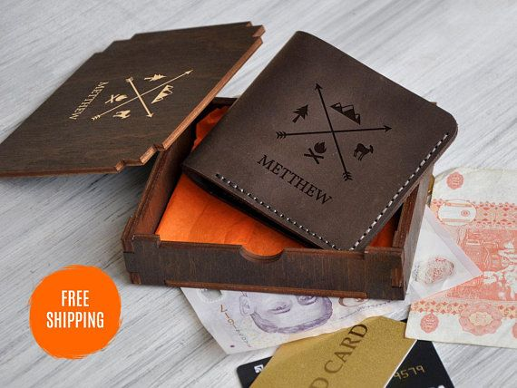Men/'s Personalised Engraved Real Leather Wallet Credit Card Holder Birthday Gift