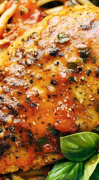 Garlic Basil Chicken with Tomato Butter Sauce ~ Utterly simple and perfect.