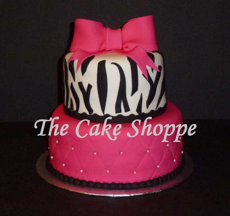 zebra print and hot pink cake