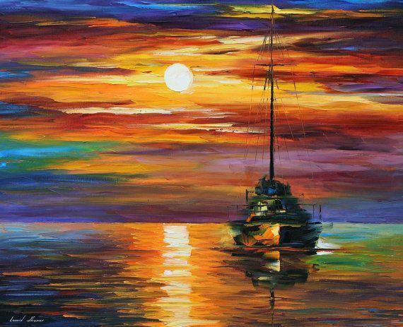 Zonsondergang schilderij kalm Sunset 2 door AfremovArtStudio