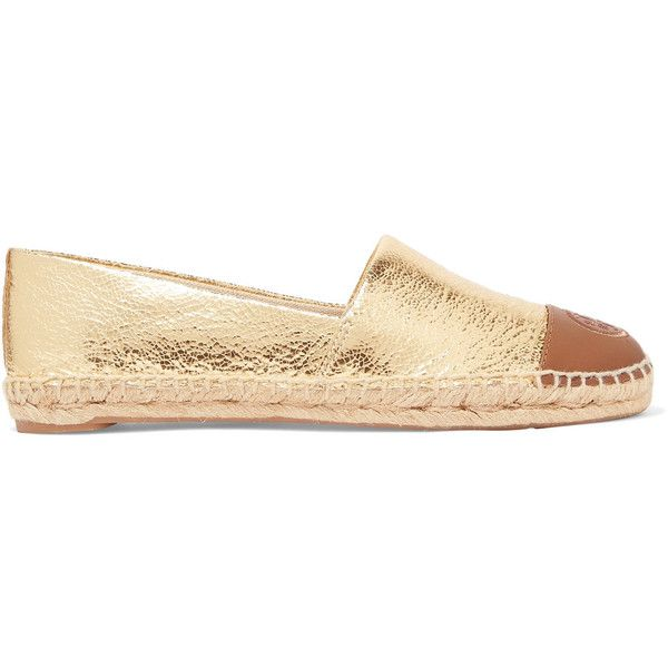 Tory Burch Two-tone metallic cracked-leather espadrilles (£88) ❤ liked on Polyvore featuring shoes, sandals, gold, slip-on shoes, metallic slip on shoes, slip on sandals, metallic espadrilles and metallic shoes