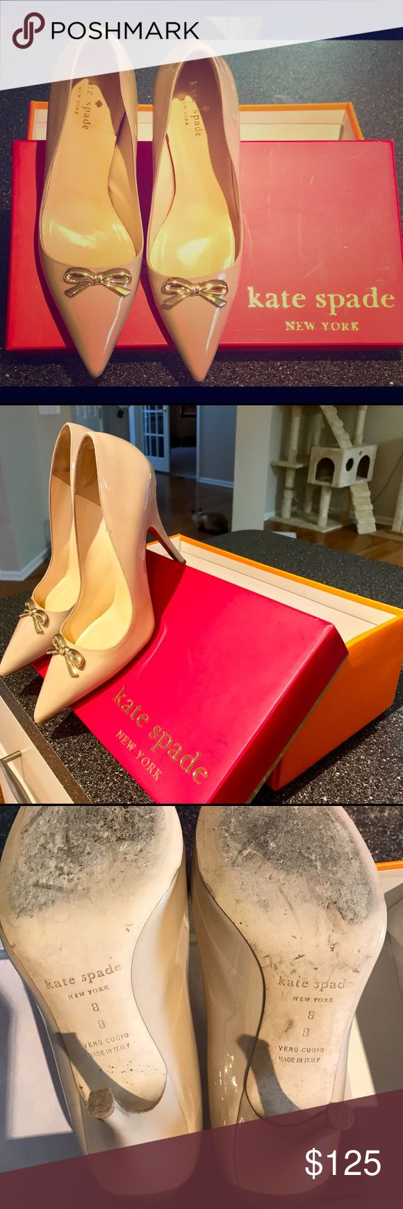Kate Spade nude pumps size 8 These beauties were purchased from Nordstrom Rack in spring 2015. I wore them for all 2-3 hours. They have otherwise been in the box. The box is the original-to-me but is not the box original to the shoe (box for sz 8 Grenadine, and they aren't the Grenadine shoe).   They have some minor scuffing on the bottom (see above) and the gel backing I put in to keep the shoe from sliding off.   Smoke-free, pet friendly home, but these have been in their box in a closet…
