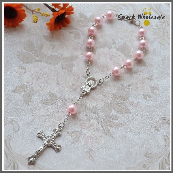 50pcs/lot First Communion Rosary for Girls Religious Gifts Small Rosary Pink Pearl Imitation Glass Decade Rosary Pearl Bracelet US $26.80