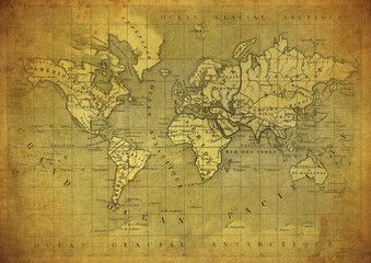 vintage map of the world published in 1847