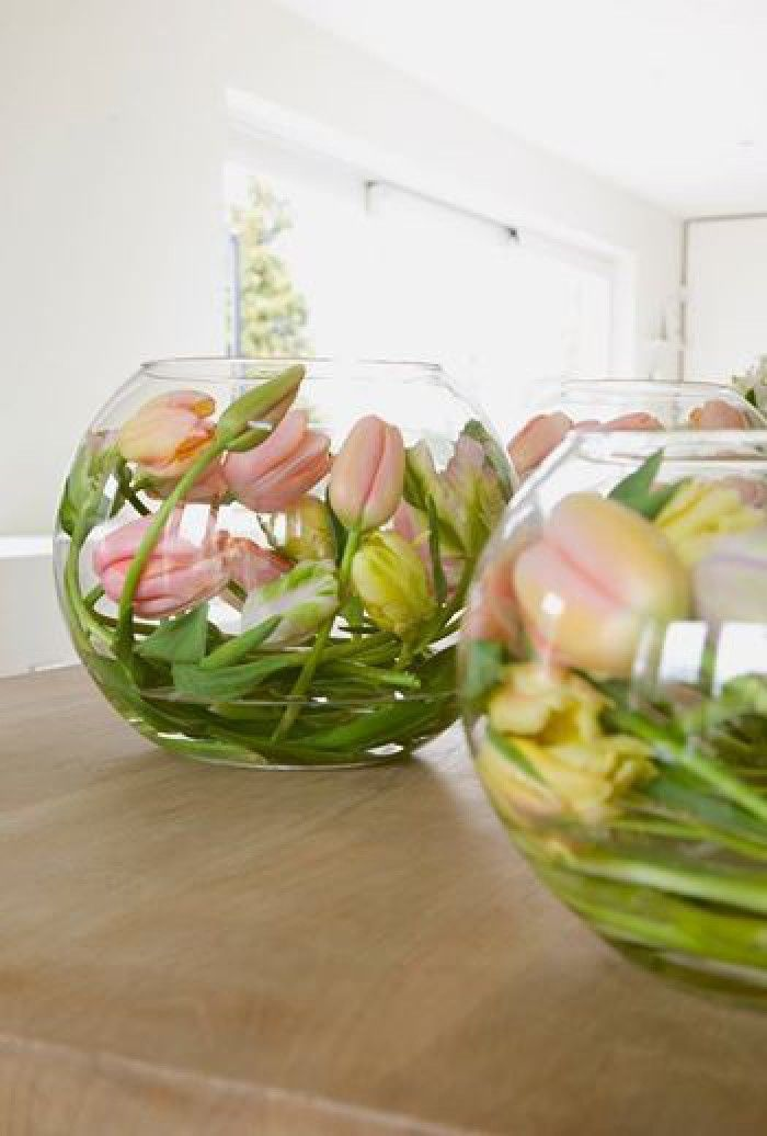 If you would like to place Tulips in a round Bowl or Vase, leave them without water for a night so that the stalk will soften and become flexible. After this one night, make sure to cut the Stalk diagonal and put it in Water in the Bowl/Vase. The stalk will now keep its shape as you put it.