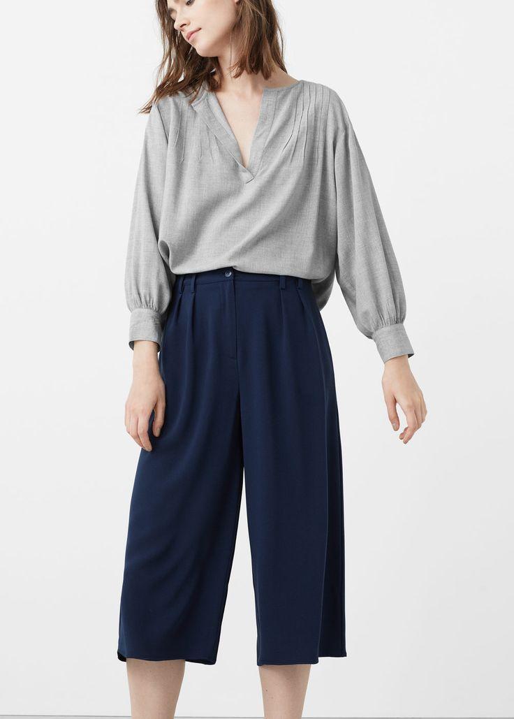 Decorative pleat blouse - Shirts for Women | MANGO USA