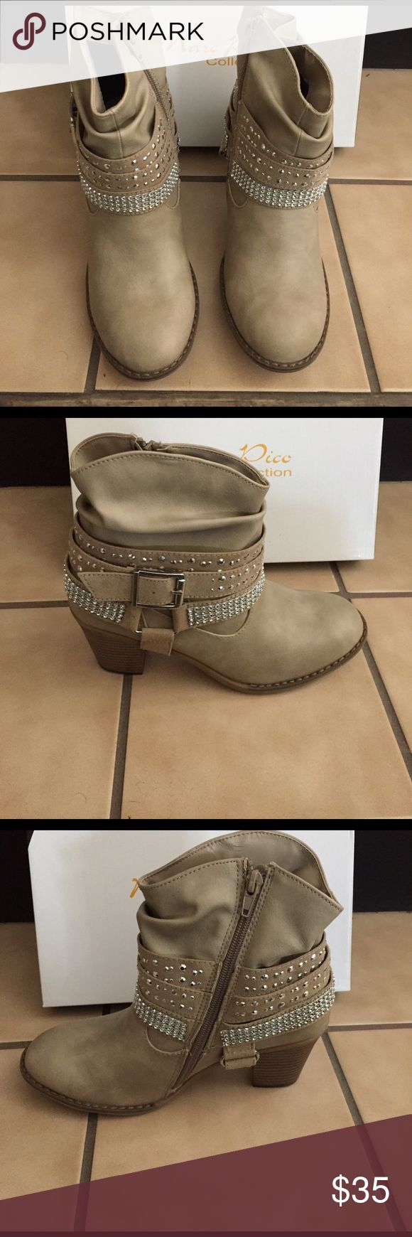 ⚡️flash sale⚡️Marc Pico Booties Step out in style in these High-Heel Rhinestone Harness Booties from the Marc Pico Collection. Easy to wear all day thanks to comfort linings. An inside zipper makes them a breeze to slip on or off. Shaft height: 4.4 in. Heel height: 1.5 in.Marc pico booties in the color sand. Cute boots with rhinestones, beautifully detailed. New, never worn. For the southern girl in you. Pair these booties with shorts, short dress, or skinny jeans. So many ways to wear these…
