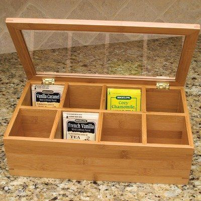 Find a box at Hobby Lobby to organize tea bags and get rid of individual boxes!