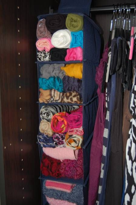 How to organize your scarves! This keeps them from getting snagged on the hangers, and makes it easy to search through!