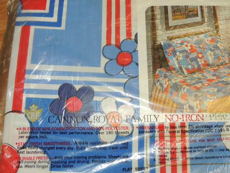 "VINTAGE 1970 CANNON ROYAL FAMILY 'Great Day' pattern bed sheets. ""All aglow with flowers and geometries -a bold tricolor print that's fun and gay. Stays wrinkle-free on polyester and cotton blend percale. Available in Celestial blue, old gold, and fudge."" Durable Press."
