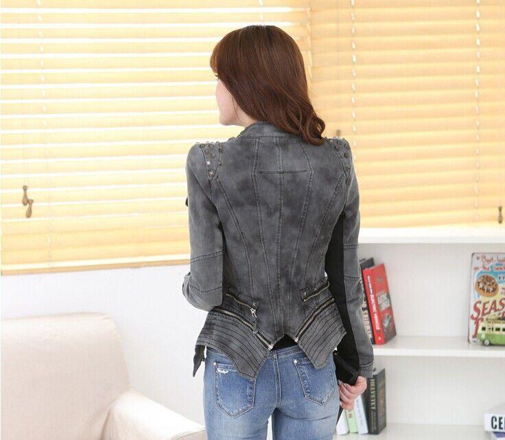 Женщины деним куртки осень и весна короткая деним джинсы куртка молния заклёпка длинный рукав верхняя одежда пальто для женщины 3 цвета