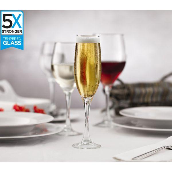 Hostelvia Sauvignon Tempered Champagne Flutes (Set of 6)