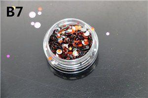 12 colors 1g/ box Nail Art Glitter ROUND Shapes Confetti Sequins Acrylic Tips UV Gel B Style Nail Art Metal Wheel