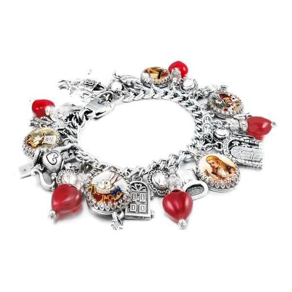 Alice in Wonderland Charm Bracelet, The Red Queen ($148) ❤ liked on Polyvore featuring jewelry, silver jewellery, charm jewelry, silver bridal jewelry, silver jewelry and silver charms