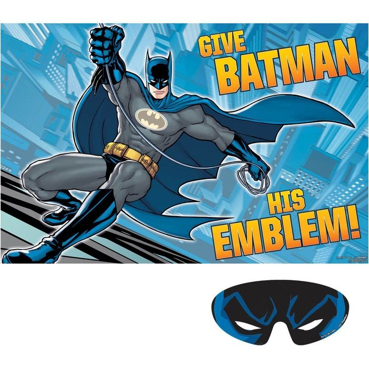 Batman Party Game Superhero Birthday Party Supplies Activity Decorations Gift. Batman Birthday Party Game. Help Batman find his emblem! Our Batman Party Game is a great way to incorporate a classic party game into your superhero themed event. This party game includes 8 Batman emblem stickers that players attempt to stick in place while blindfolded. Game is suitable for 2 to 8 players. Batman Party Game includes: Poster, 37in x 25in, 8 Stickers, and Paper blindfold.