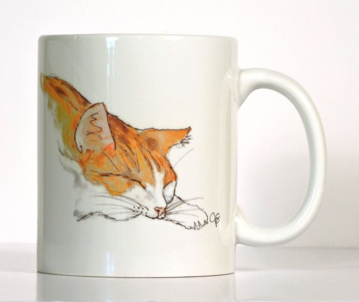 Cat Mug, Orange and White Cat Mug, Personalized Cat Mug, Made to Order, Add Your Name or Message. Mug pictured is an 11 oz right hand mug. Kitty in Orange and White, is the third in a series of different kitty sleeping poses. Printed from my original watercolor and ink painting. This cat mug is a great gift idea for your friends or co-worker. Please include gift message with order if gift note is desired. Personalize with a message or name that makes it a thoughtful and special gift for…