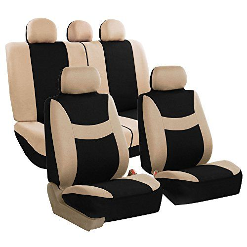 FH GROUP FH-FB030115-SEAT Light & Breezy Beige/Black Cloth Seat Cover Set Airbag & Split Ready- Fit Most Car, Truck, Suv, or Van. For product info go to:  https://www.caraccessoriesonlinemarket.com/fh-group-fh-fb030115-seat-light-breezy-beigeblack-cloth-seat-cover-set-airbag-split-ready-fit-most-car-truck-suv-or-van/